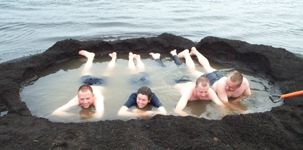 Me, Jane Nash, Stu McMillan and Rob Shortman taking a dip in a volcanic pool on Deception Island. The sea temperature was +1°C but the water temperature in the pool we dug was around +30°C - very pleasant!