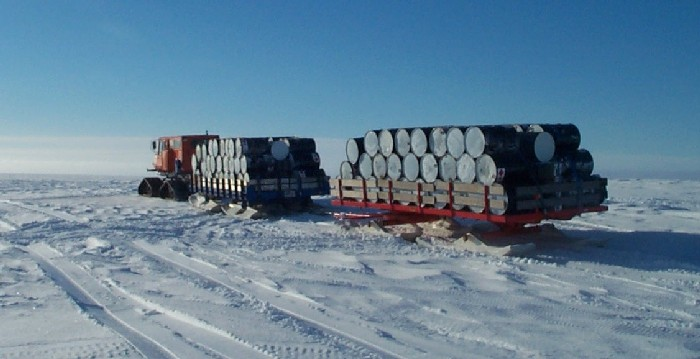 A Snocat taking empty drums back to the ship at Halley.