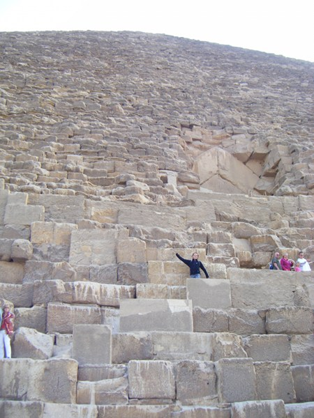 Me at the bottom of one of the main pyramids - it is truely huge and all the blocks are huge too!
