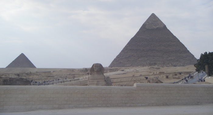 The Sphinx and the pyramids at Giza, Cairo.