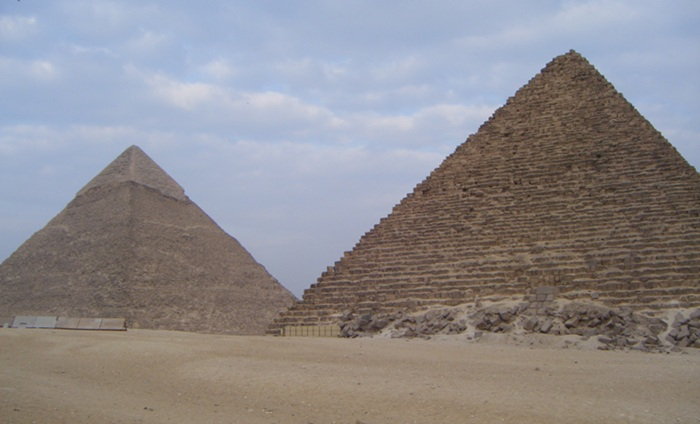 One of the older pyramids and one of the main ones, where you can see how it was originally covered with an additional smooth layer.
