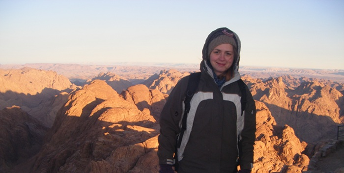 A cold Giffen on top of Mount Sinai after sunrise.