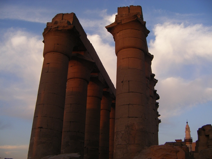 Pretty colours on columns at Luxor Temple at sunset.