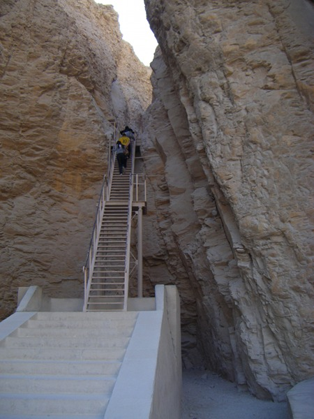 The steep climb up to the tomb of Tuthmosis III in the Valley of the Kings at Luxor. You can't take photos inside of the tombs. This was the most well hidden of all the tombs in the Valley.