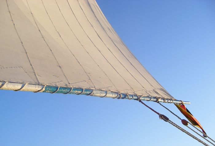 The clew of the sail on the felucca we sailed down the Nile from Aswan to Luxor on.