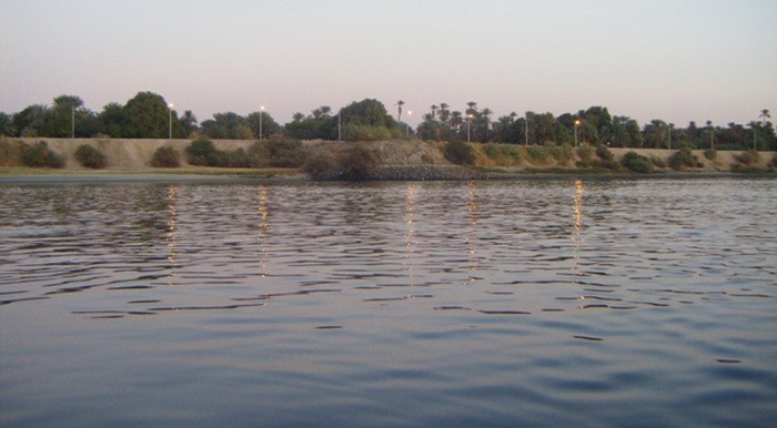 The green banks, and calm wind towards the end of our first day sailing down the Nile on a felucca.