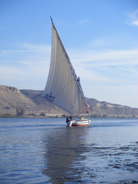 Another felucca without guests on returning downwind, but upstream to Aswan. We were moored to the eastern bank eating lunch at the time.