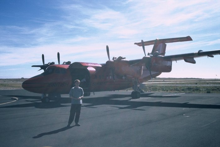 Me about to board the Dash-7 to Rothera from Stanley airport on the Falkland Islands. I've got a top hair-do after two months on the ship!