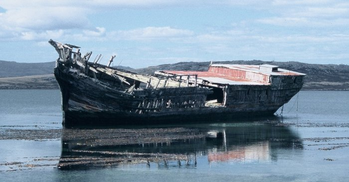 The wreck of a sailing ship in Stanley, Falkland Islands.