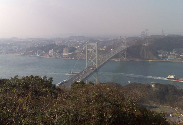 The bridge across the Kanmon Straits between Shimonseki on Honshu Island and Mojiko on Kyushu (where it was taken from).