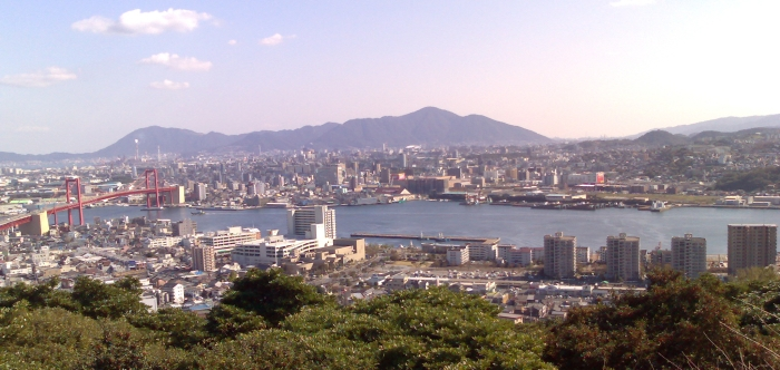 Tobata, the part of Kitakyushu City that KIT's in, seen from across the harbour in Takatoyama Park in Wakamatsu. I live just in front of the small hill that's underneath the sky-line on the right of the photo.