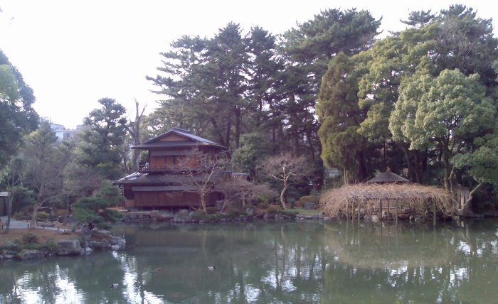 A traditional tea house in a garden  in the Imperial Palace grounds.
