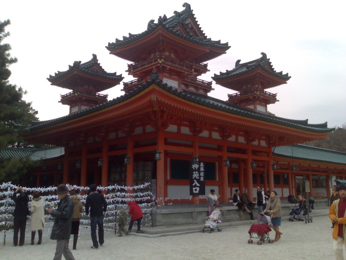One of the many impressive buildings at the Heian-jingu shrine. This is only a two-thirds size replica of the original. Many people were visiting as part of their New Year celebrations.