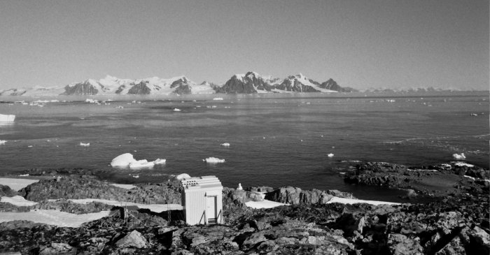 Looking west from Rothera Point, over the GATF hut to the Antarctic Peninsula.