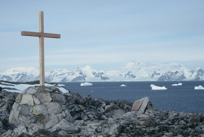 The cross on top of the Point in memory of the several people who have died while working out of Rothera.