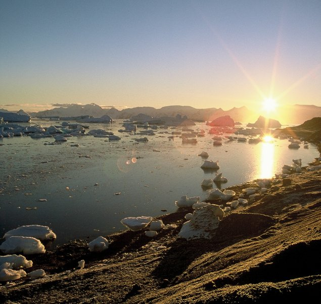 The view south from Rothera early in the morning in autumn.
