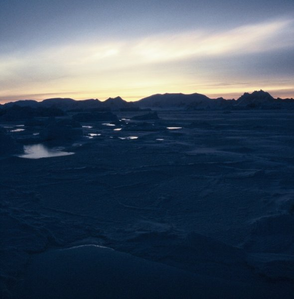 The view west to the mainland of the Antarctic Peninsula from Rothera.