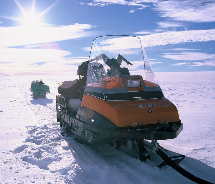 My skidoo and sledge on the Fuchs Ice Piedmont during a winter trip.