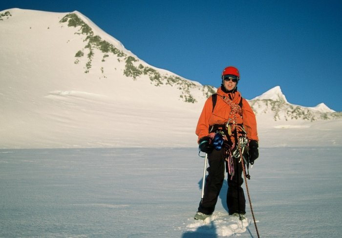 Me all kitted up to go and climb a mountain called Point 762 during my first winter trip at Rothera.