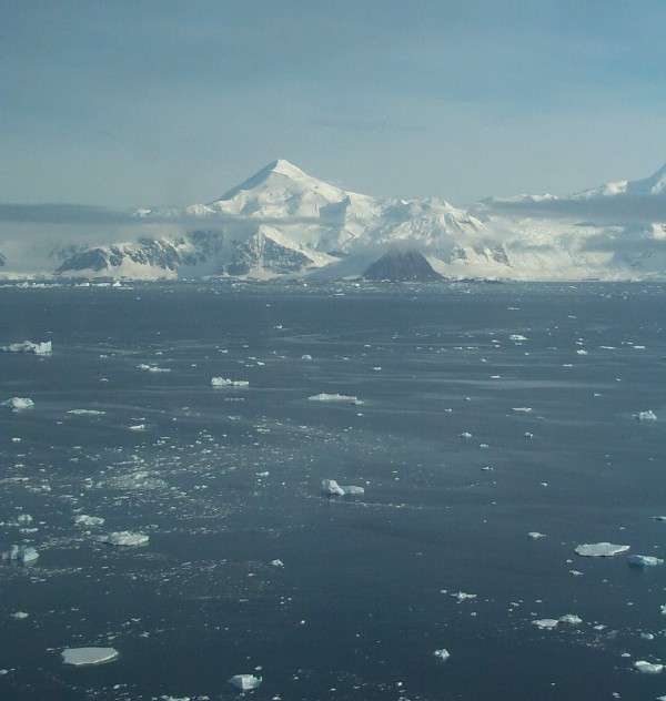 Brash ice and low cloud in Ryder Bay, Rothera.