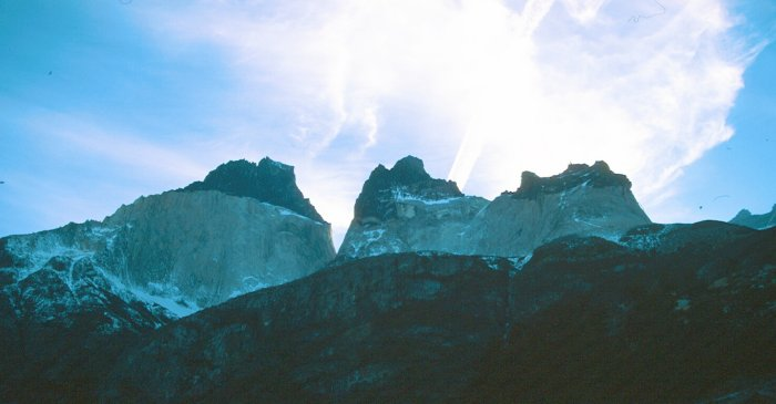 The towers in Torres del Paine National Park, Chile, seen from the lake at their foot, above Los Torres (?) campsite and refuge. There was lots of snow up at this height and I was slipping and sliding on my way up without crampons. There were a couple of Japanese buisiness men in suits up there too who had walked up during the break in their conference at the refuge.