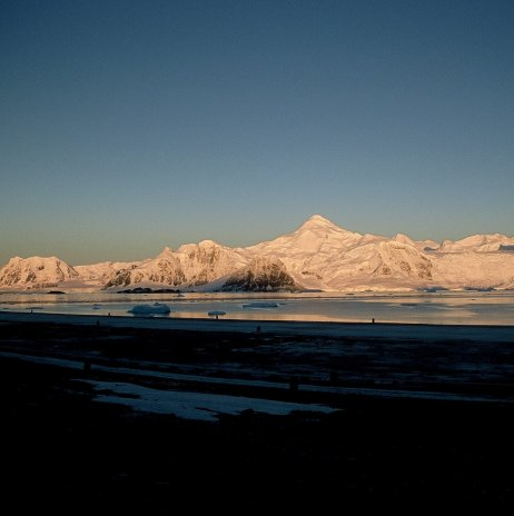 Ryder Bay seen from the front door of Rothera Base early in the morning in autumn.